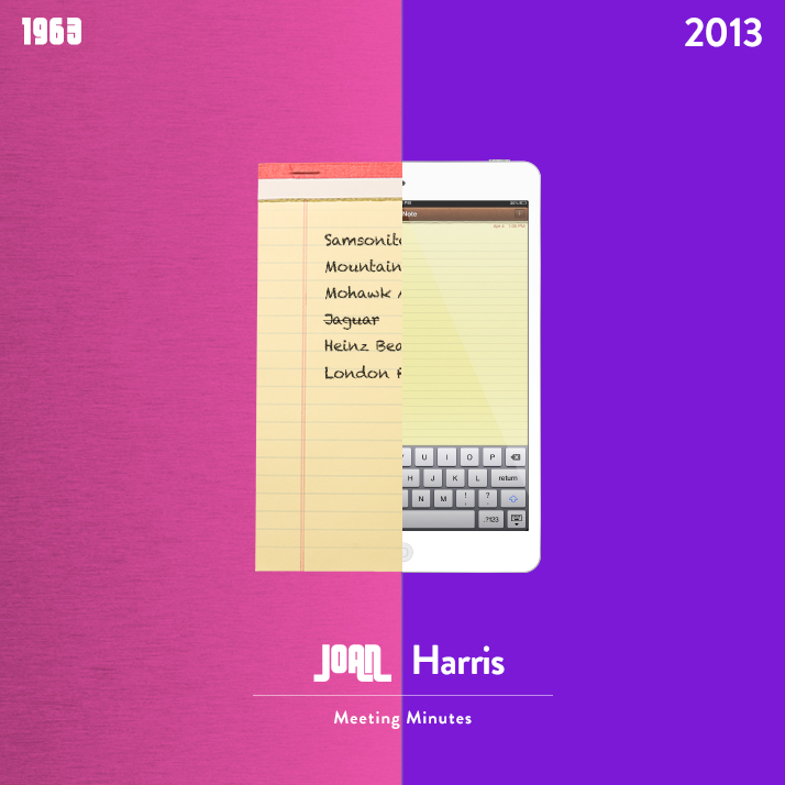 Mad Men's Joan Harris notepad versus an iPad Mini