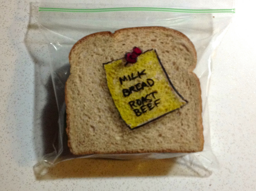 Sandwich Bag Art: A post-it note with a grocery list