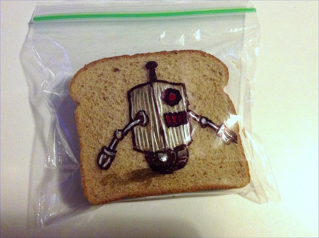 Sandwich Bag Art: A silver Robot on a single wheel