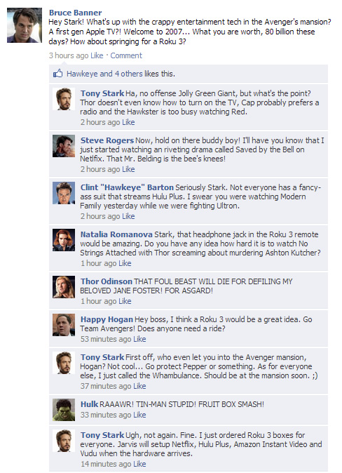 The Avengers want a Roku 3