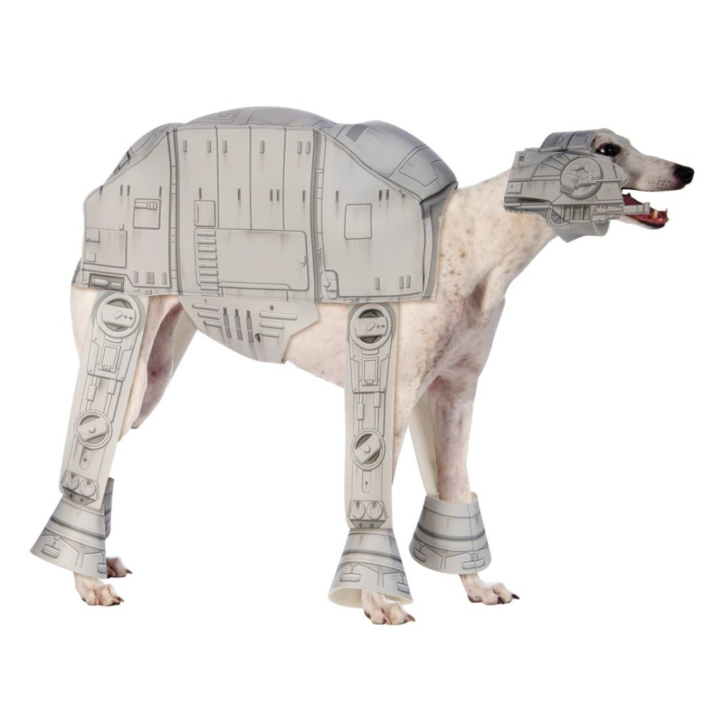 A greyhound wearing an AT AT costume