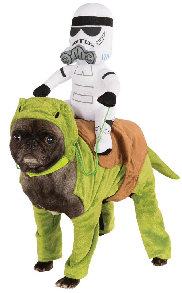 A bulldog wearing a Star Wars Dewback costume