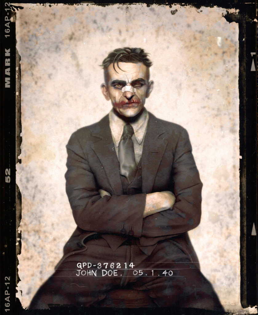 Batman Villains: The Joker posing for a mug shot in the 1940s.