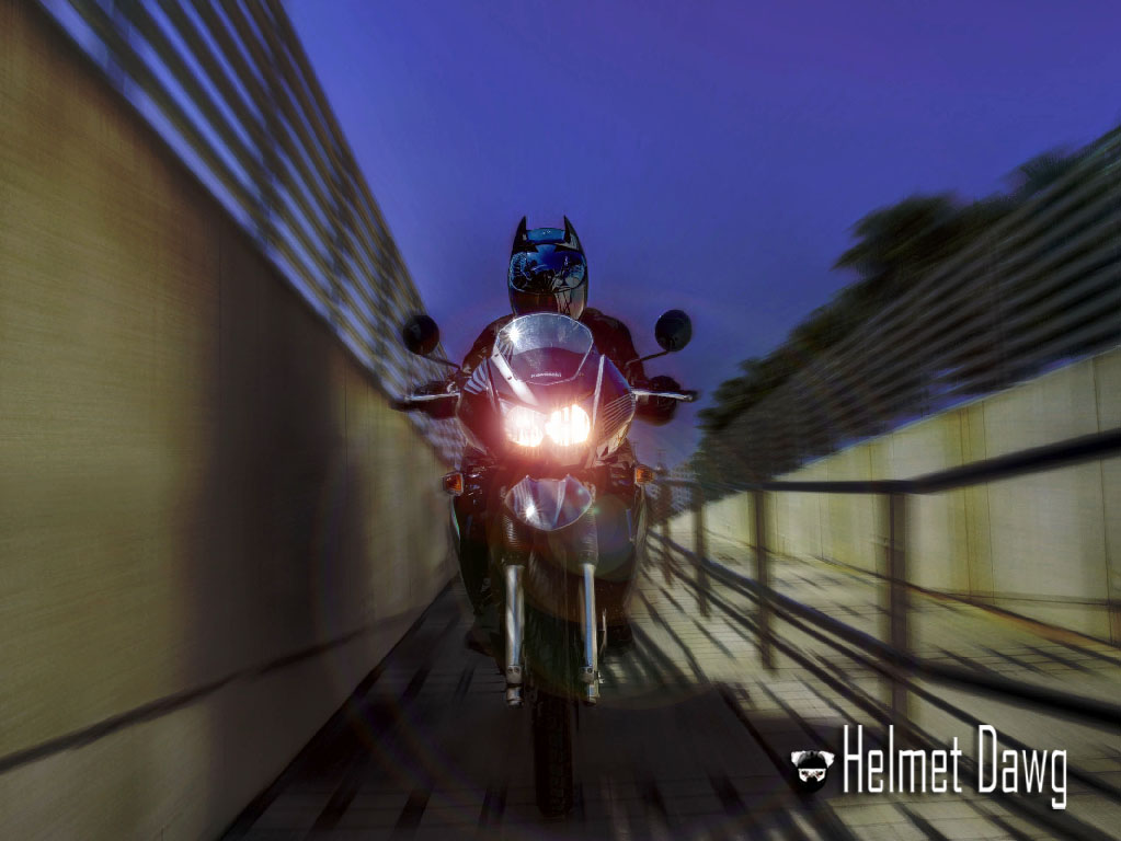 Batman Motorcycle Helmet in action from Helmet Dawg