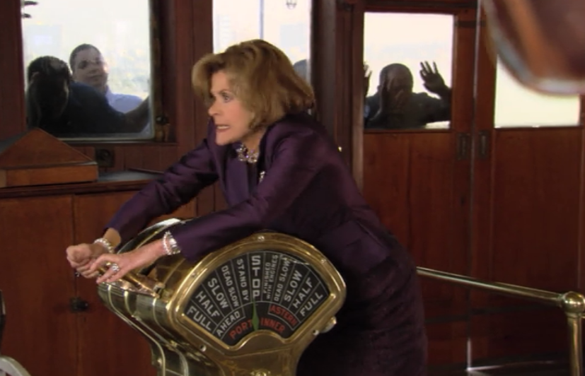Lucille Bluth escaping in the Queen Mary