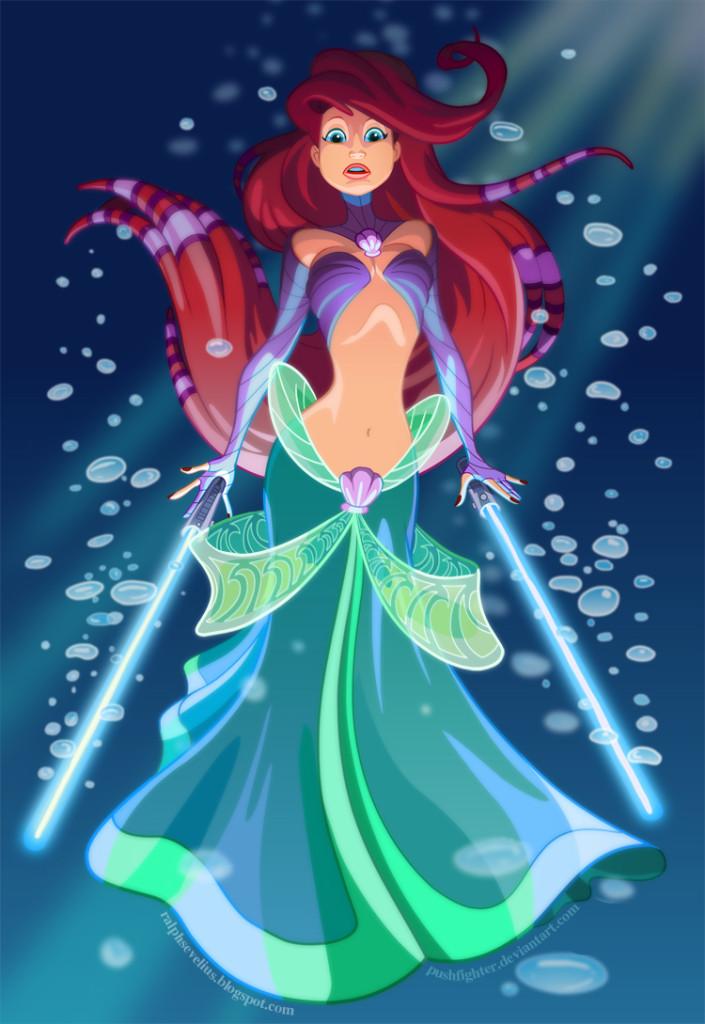 Star Wars Disney Princess Ariel as a Jedi Guardian