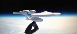 Model of Star Trek's USS Enterprise in the Earth's Upper Atmospher