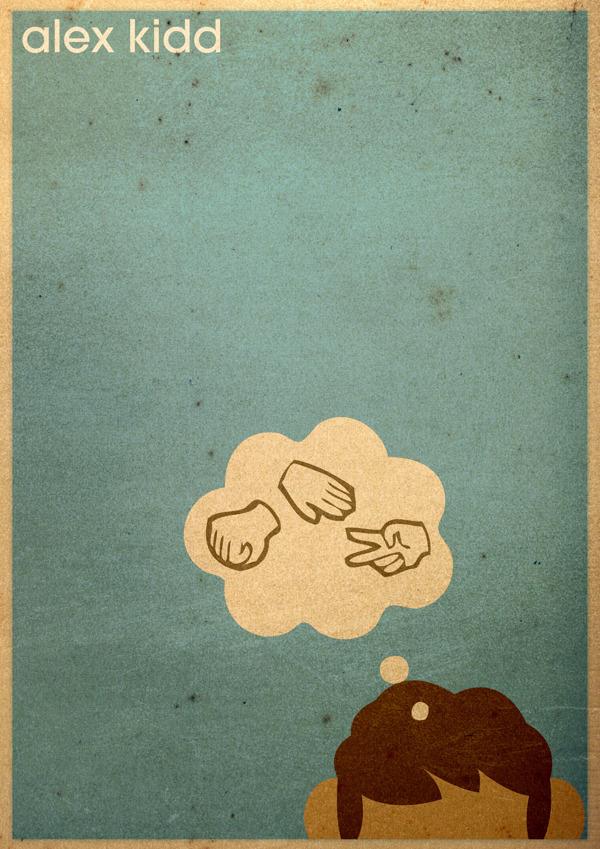 Minimalist poster Sega's Alex Kidd: Paper, Rock Scissors