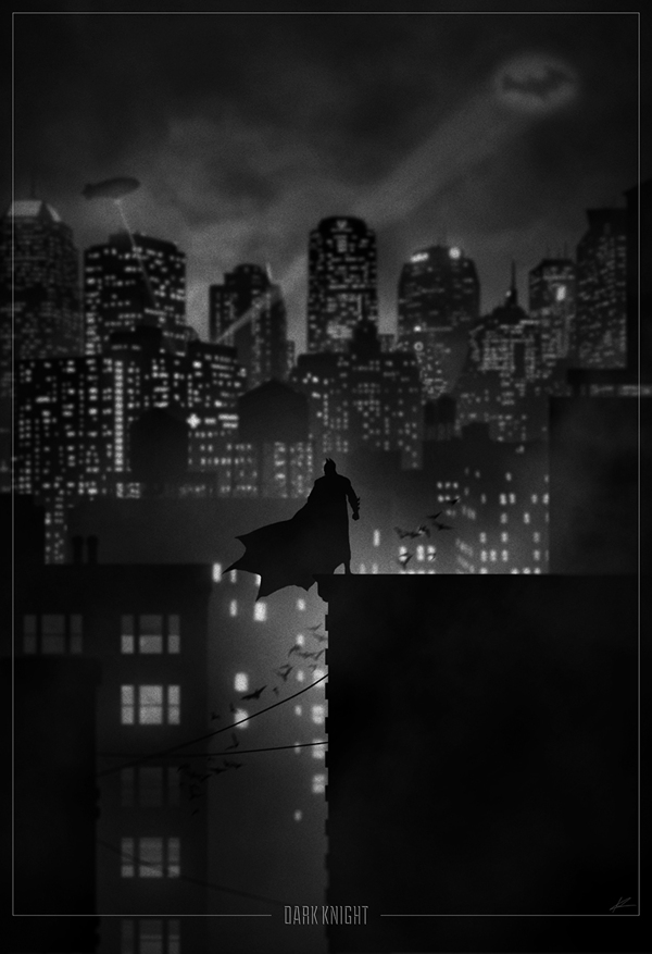 The Dark Knight overlooking Gotham City