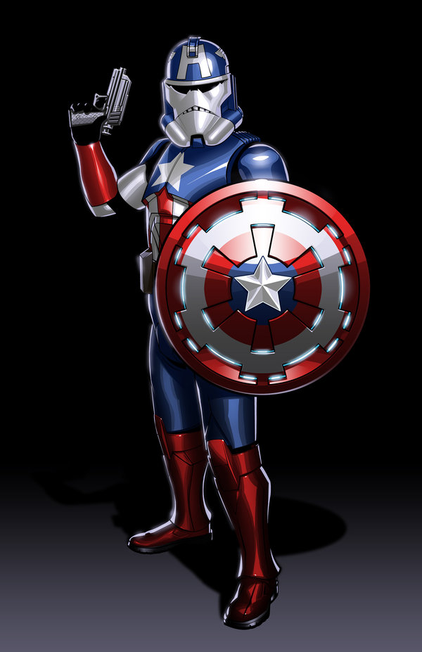 Captain America with shield and gun in Star Wars armor