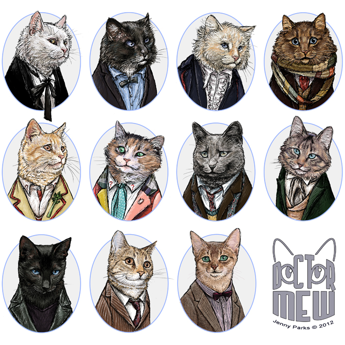 Doctor Who over the years as Doctor Mew