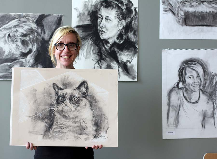 Grumpy cat depicted in charcoal etchings