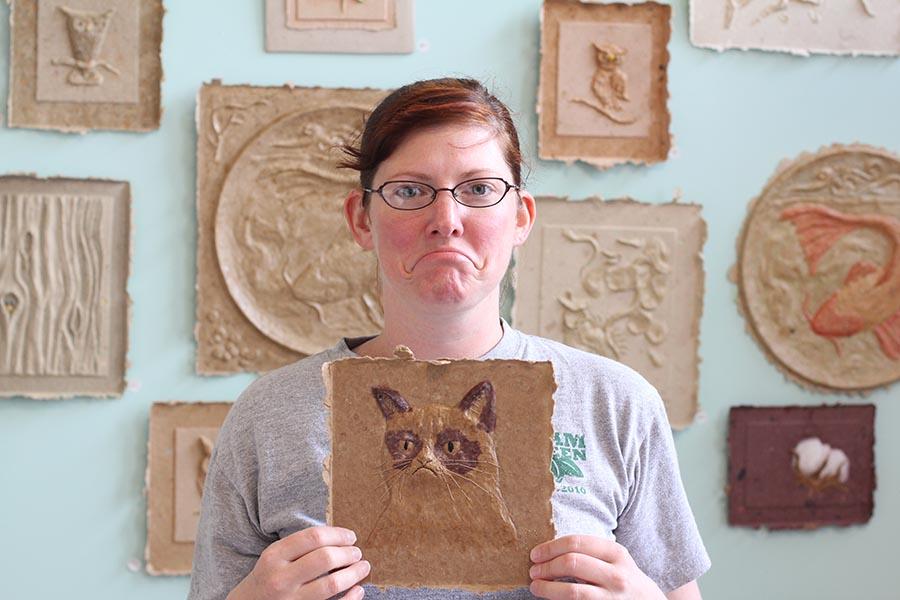 Grumpy Cat in paper pulp form