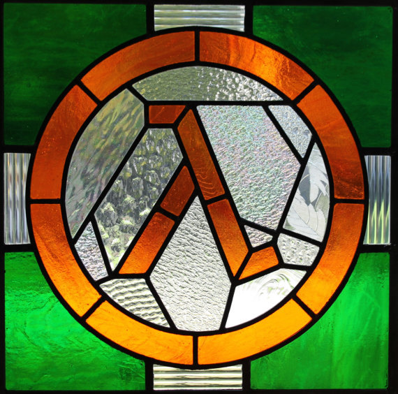 Half Life symbol in stained glass
