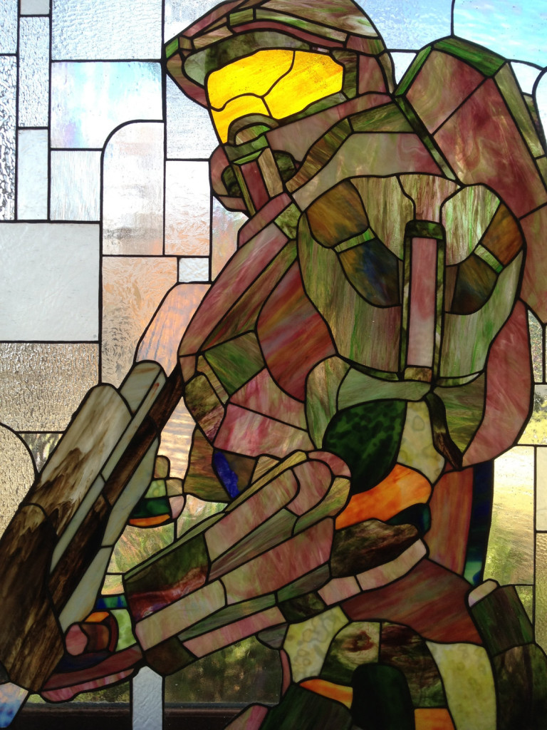Halo's Master Chief in stained glass