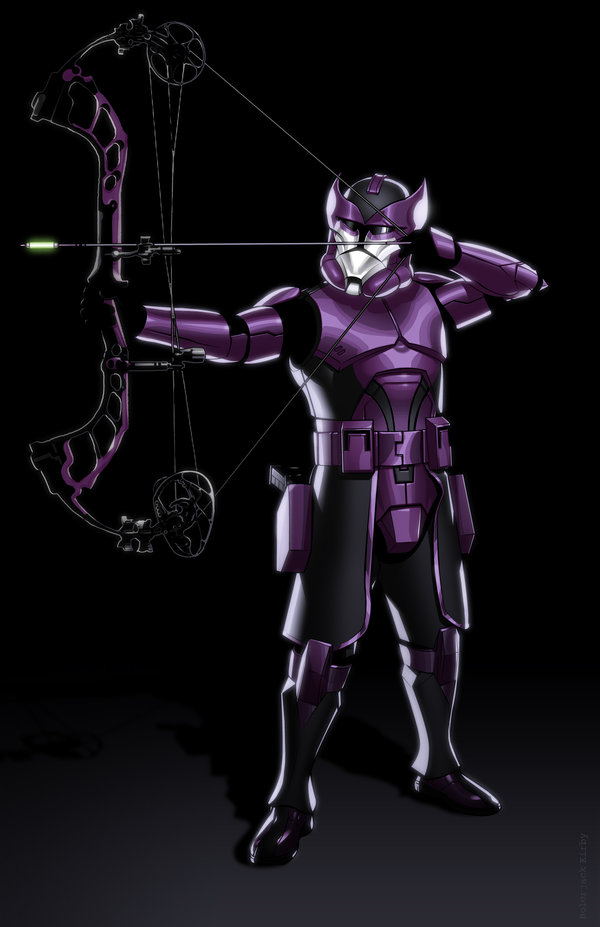 Hawkeye with bow as a Star Wars stormtrooper