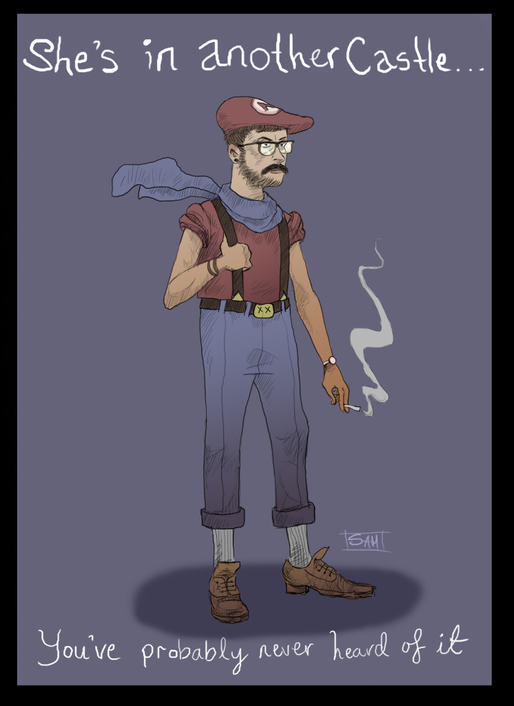 Hipster Mario wearing a beret and smoking a cigarette