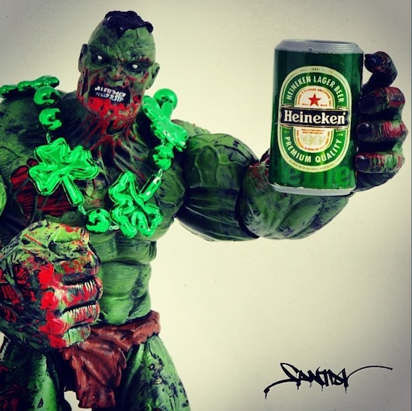 Zombie Hulk drinking a beer
