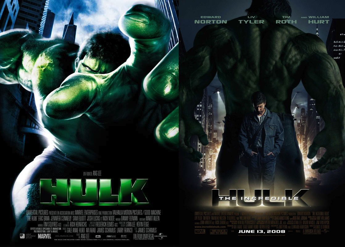 Hulk (2003) / The Incredible Hulk (2008) movie posters