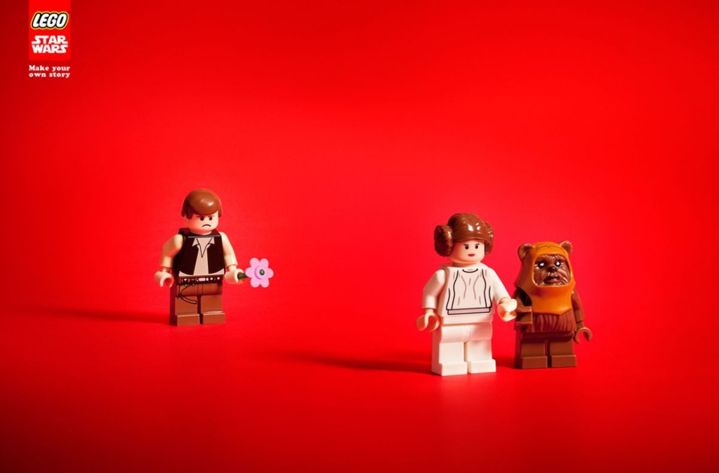 LEGO Han Solo angry has Leia walks off with an Ewok