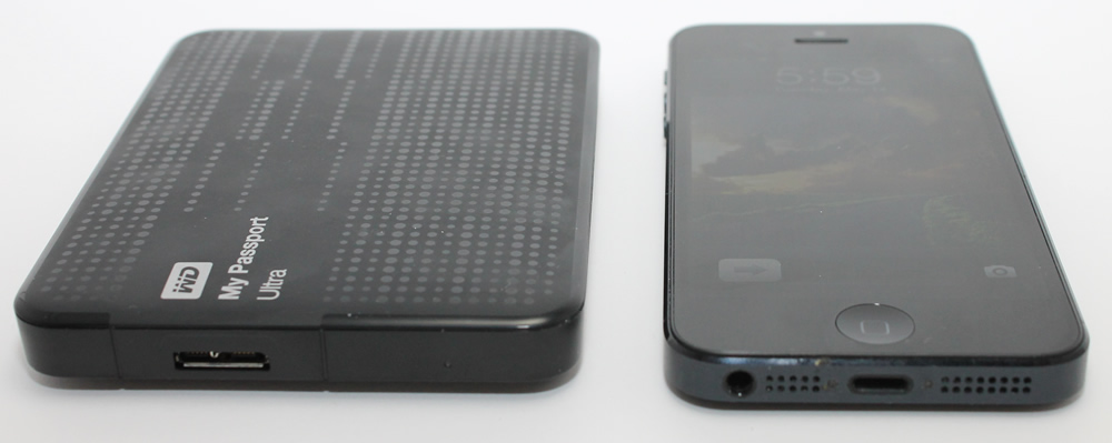 My Passport Ultra versus the iPhone 5 size comparison