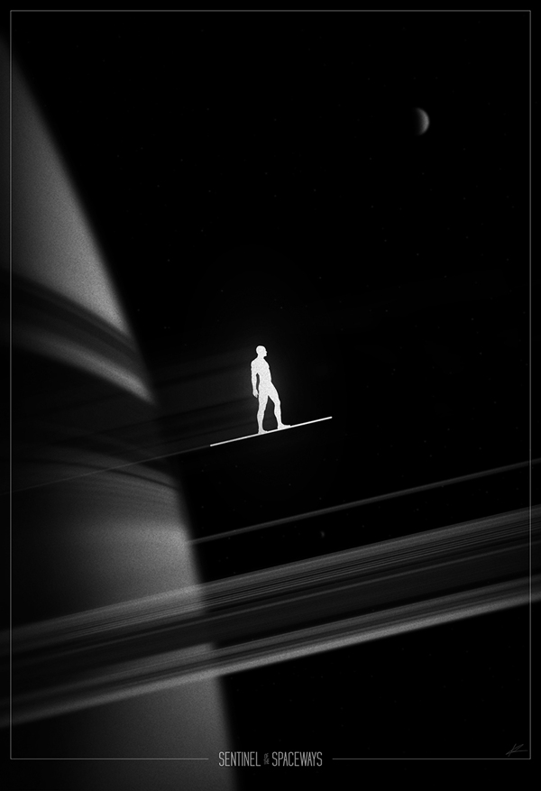 The Silver Surfer racing from planet to planet through the galaxy.