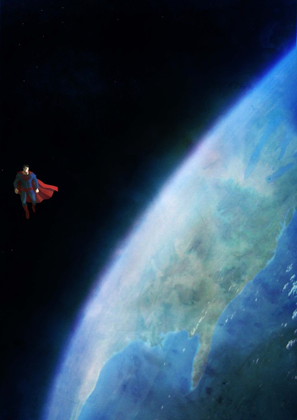 Superman overlooking planet Earth and the United States