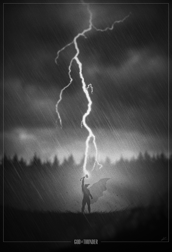 Thor raising his hammer to a strike of lightning
