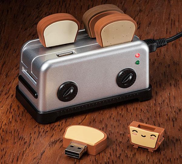 USB Toaster Hub with toast on table