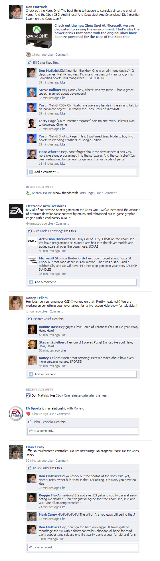 Xbox One Press Conference Fake Facebook Conversations
