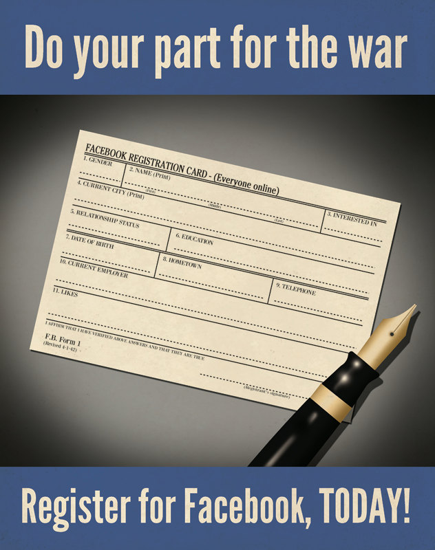 Facebook registration: Do your part for the war