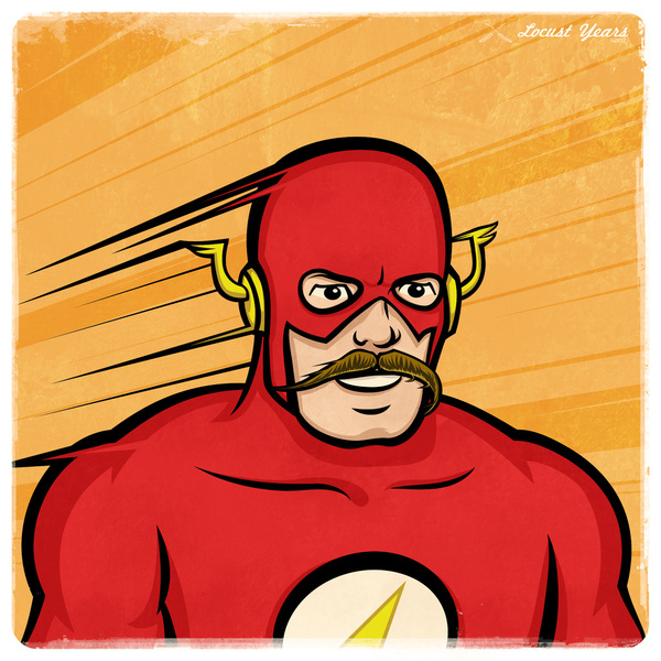 The Flash with a handlebar mustache