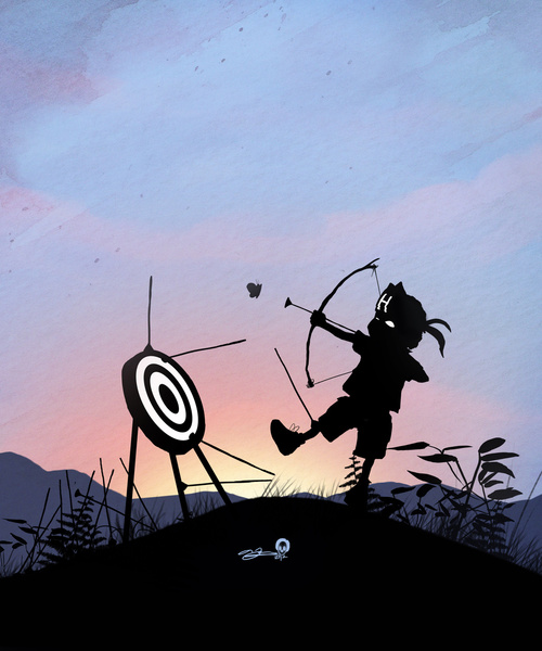 Shooting arrows as Hawkeye