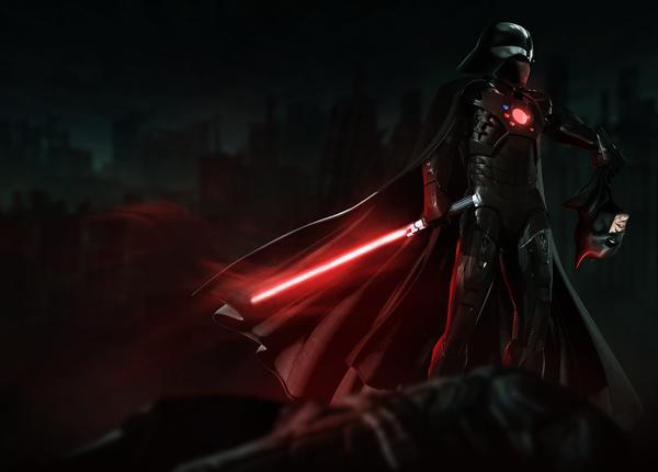 Iron Darth Vader slashed off Batman's head