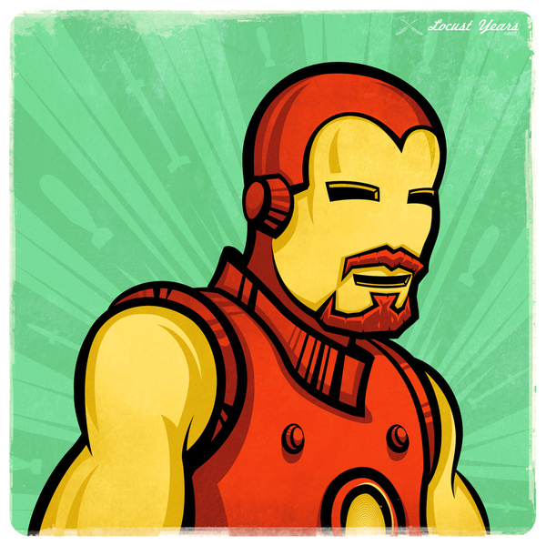 Iron Man with the stache and goatee