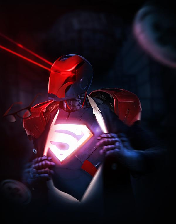 Iron Superman shooting heat vision