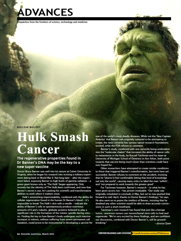 Scientific American Hulk Smash Cancer story