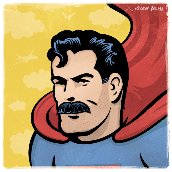 Superman / Clark Kent rolling with a stache