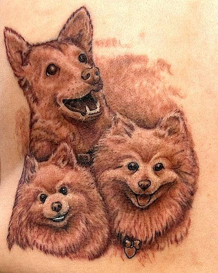 Pet Tattoos: Three Happy Dogs