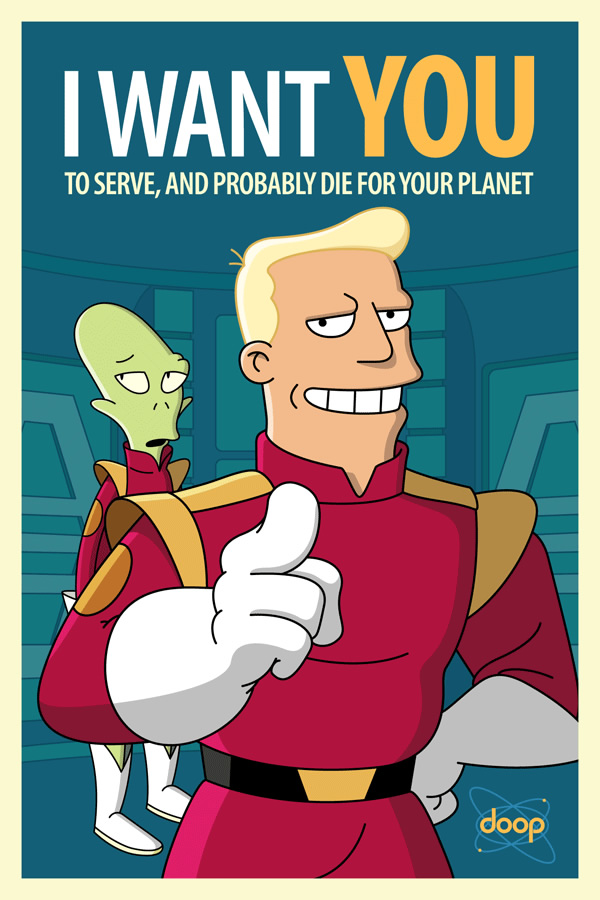 Cpt. Zapp Branigan and second mate Kif recruiting poster