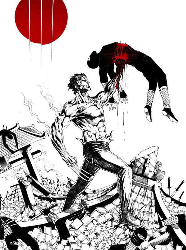 Wolverine stabbing samurai warrior