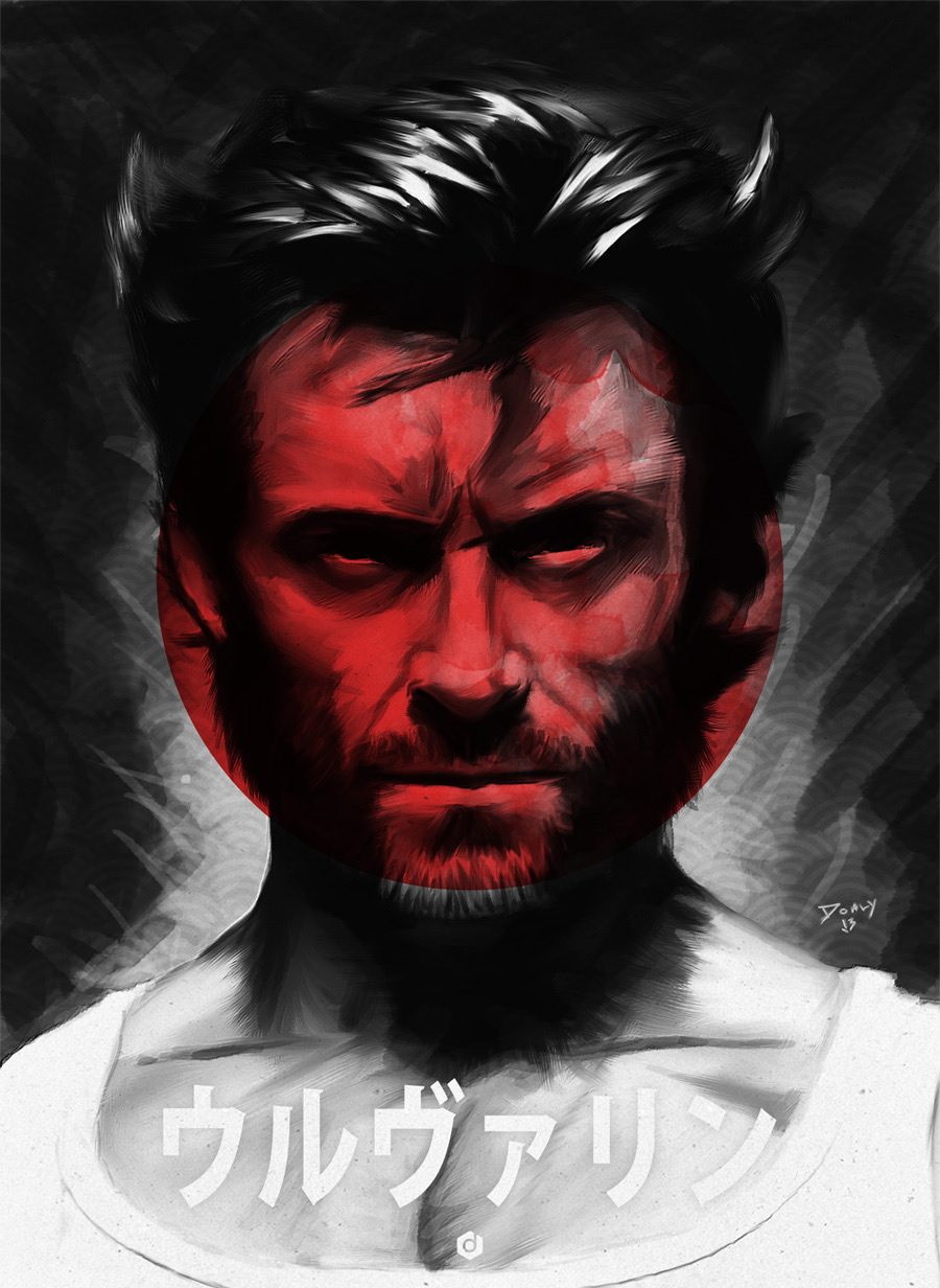 Hugh Jackmans face mixed with red sun