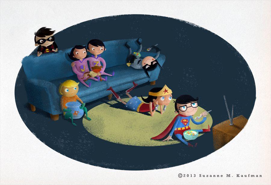 Super Friends watching cartoons