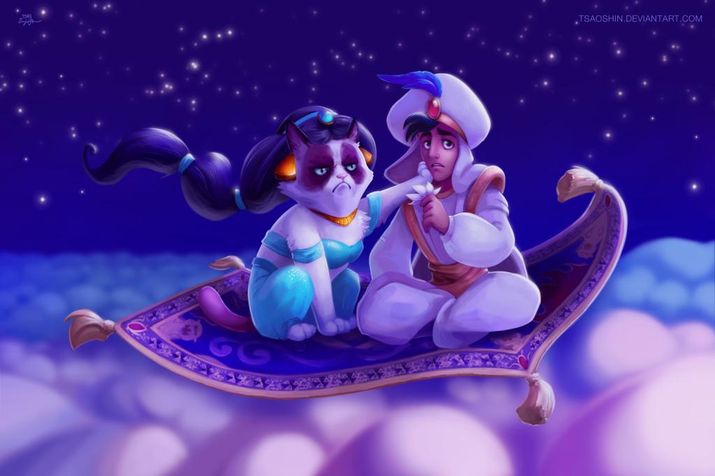 "Aladdin Grumpy Cat ""A Whole New No"""