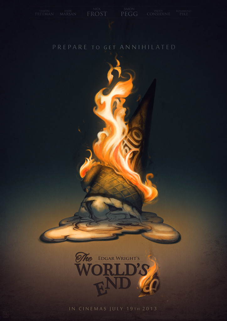 The World's End Poster burning ice cream