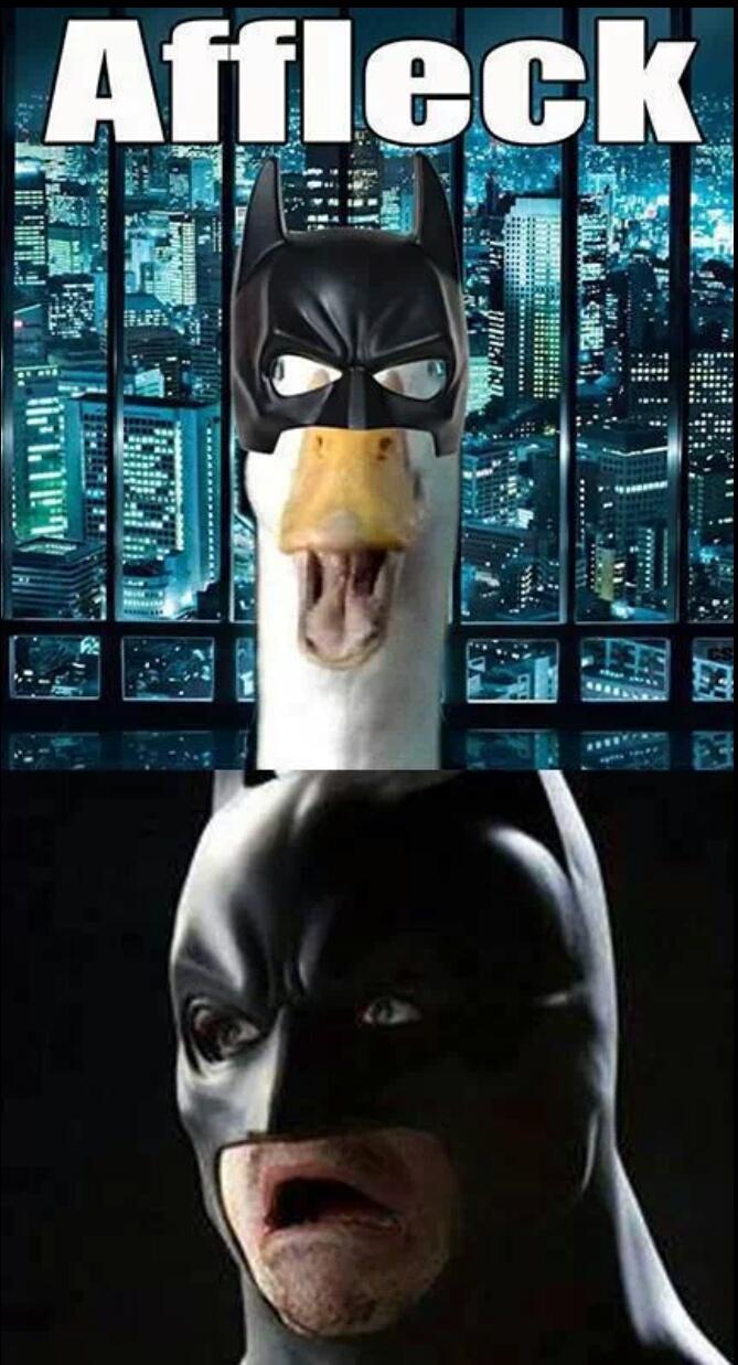 batman affleck ben duck meme aflac memes superman crusader batfleck vs steel reaction afflac caped funny bat confused internet reactions