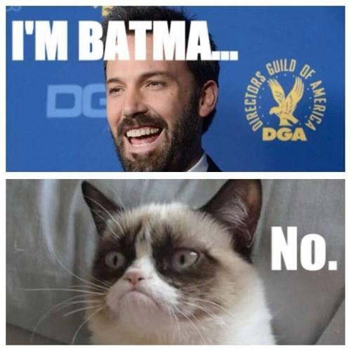 Grumpy Cat's Reaction to Ben Affleck as Batman