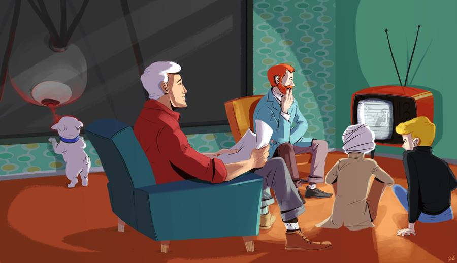 Johnny quest family watching tv