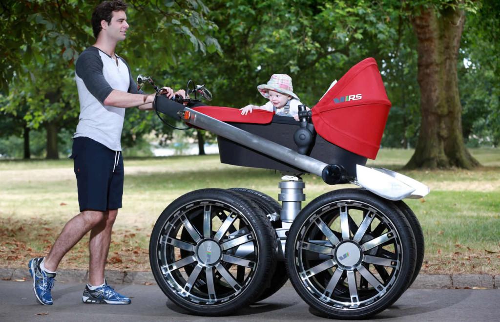 Skoda's manly baby stroller