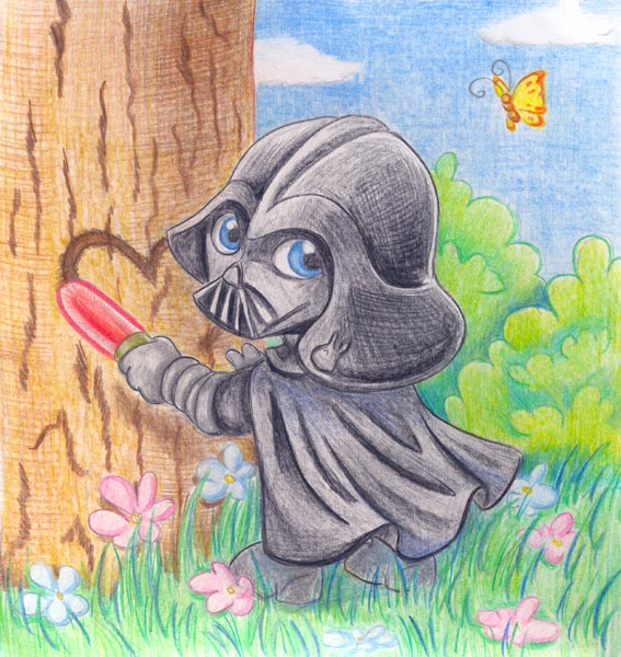 Vader carving heart with lightsaber